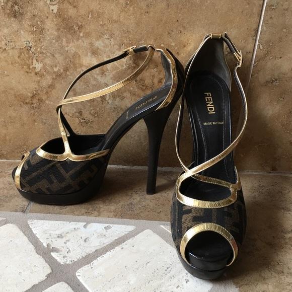 05cf839ebff Fendi Shoes - Fendi Tobacco Spuntata Zucca Jacquard peeptoe pump
